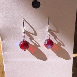 Handmade ❤️ Red Iridescent Bead Earrings